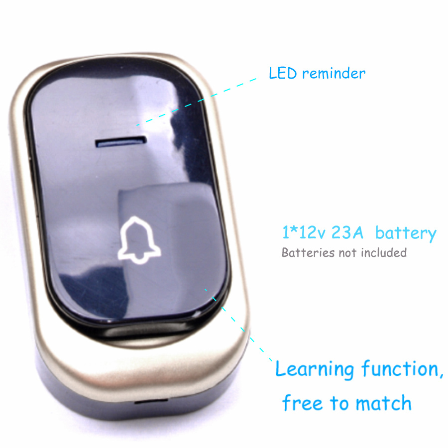 CACAZI Wireless doorbell Waterproof 150M Remote smart Door bell CHIME EU Plug AC 110V-240v gold 1 2 Button 1 2 receiver 10