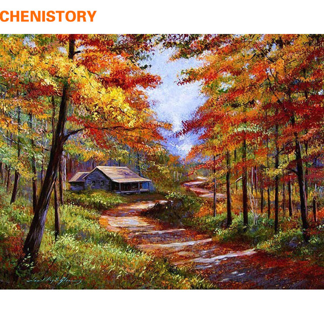 diy canvas art for living room designer chairs chenistory autumn forest landscape painting by numbers ...