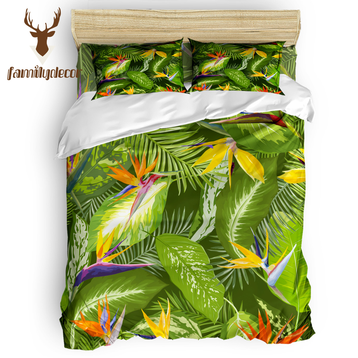 FamilyDecor Hawaii Tropical Palm Leaves Bedding Set Luxury Comforter Bedding Sets 3D King Size Red Blue Cotton DHL Free Shipping