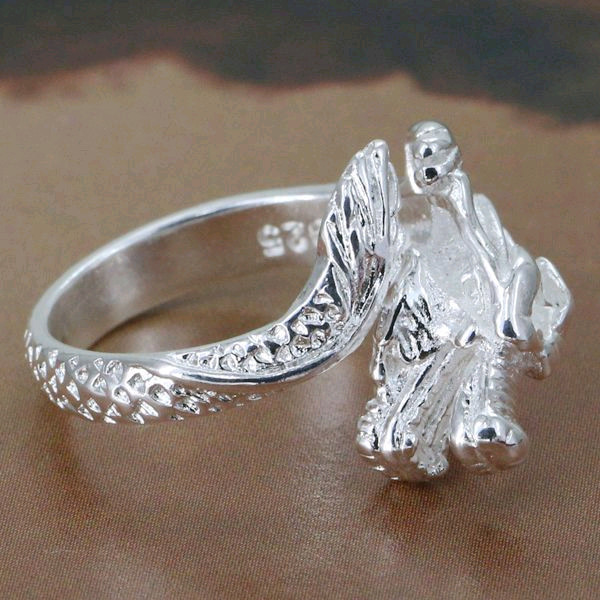 Silver Plated Dragon Head Ring