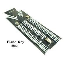 """2.5 см/1 inch Широкий для мужчин и женщин унисекс """"Фортепиано доска для ключей"""" узор чулок клип-на брекеты эластичные подтяжки чулок y-обратно подтяжки"""