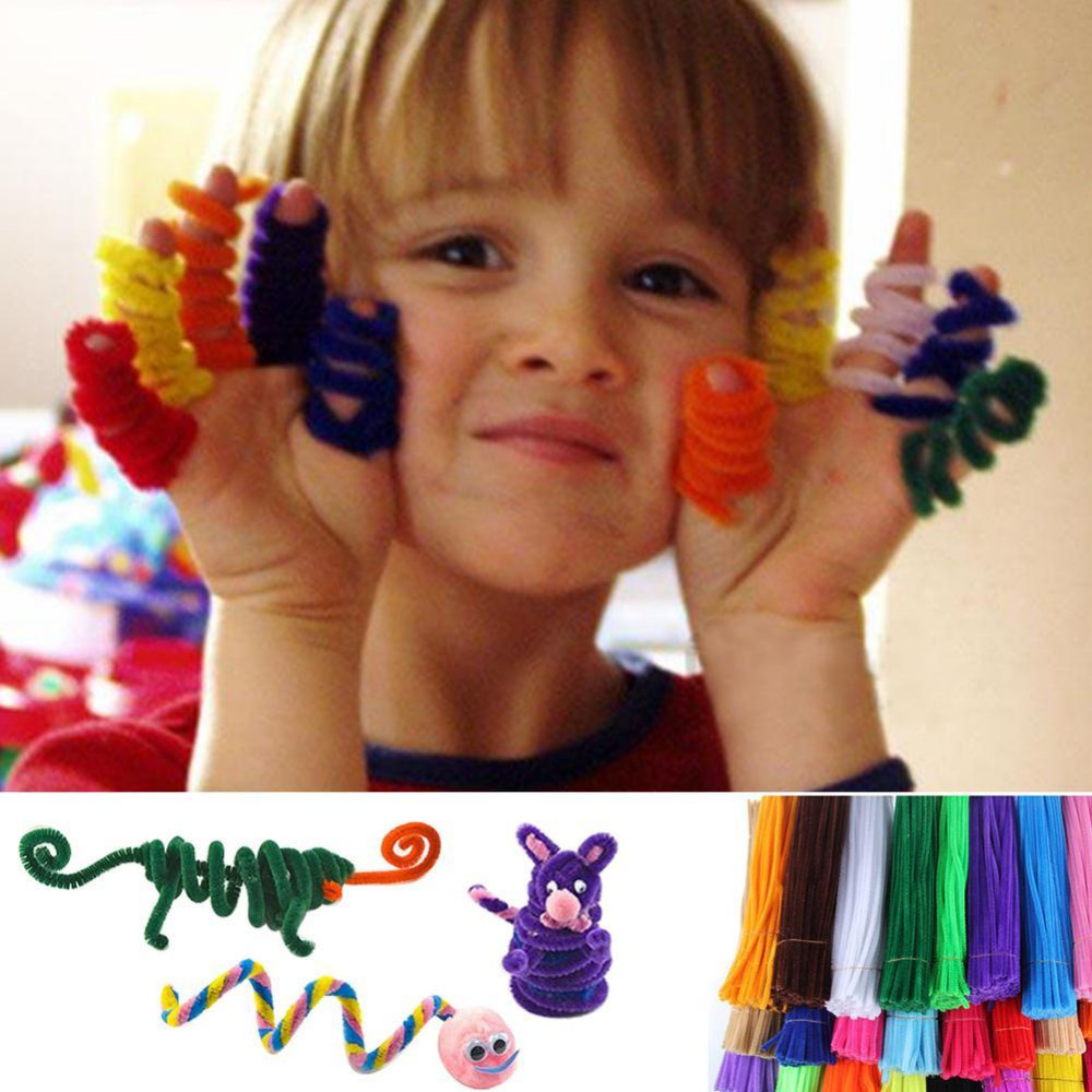 100pcs Children Kid Plush Sticks Cleaners DIY Craft Chenille Stems Handmade Handicraft Twist Rod Braiding Wire Education Toy