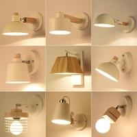 Original wooden wall modern creative living room bedroom bedside lamp wall lamp aisle real bathroom mirror lamp small led lights