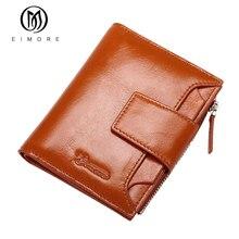 EIMORE Damen Echtes Leder Geldbörsen Frauen Rindsleder Kurze Geldbörsen Einfach Tragen Damen Zipper Tasche Weibliche Dollar Brieftasche