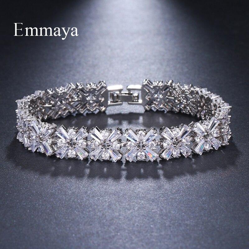 Emmaya Luxury Bracelet Crystal Bracelets For Women Charm Silver Bracelets & Bangles Female Bridal Wedding Jewelry цена 2017