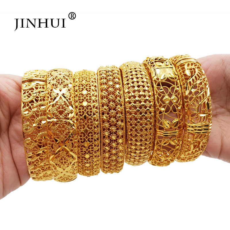 Jin Hui New Fashion Gold Color Wedding Bangles for Women Bride Can OPen Bracelets Ethiopian/france/African/Dubai Jewelry gifts