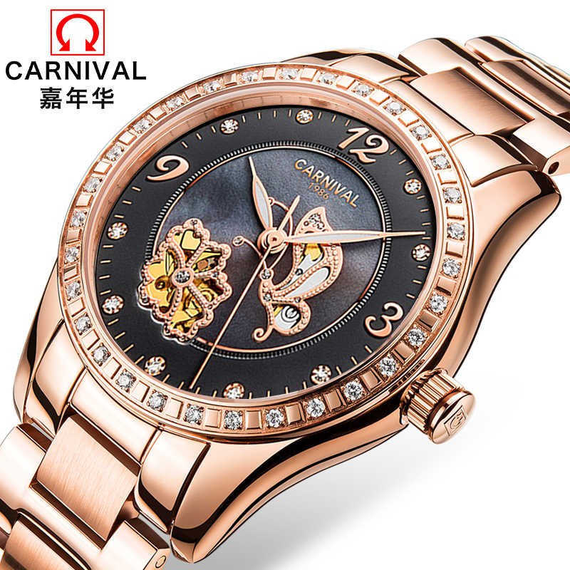 1d0b4d57 Для женщин часы карнавал Элитный бренд часы для женщин автоматические  механические наручные часы сапфир водонепроница relogio