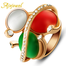 Ajojewel Semi-precious Stone Jewelry Three Colored Opal Luxury Big Rings For Women 2016 Best Gift