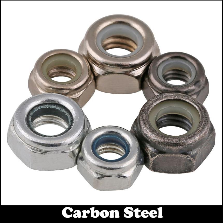M6 M8 M10 M12 DIN985 Black White Zinc Plated Galvanized Carbon Steel Prevailling Torque Type Nylon Insert Hexagon Hex Lock Nut
