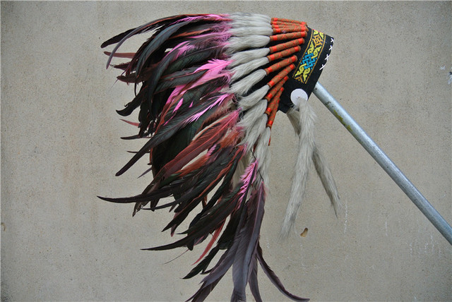 Light pink Indian feather Headdress indian War Bonnet for halloween costume feather costumes hat & Light pink Indian feather Headdress indian War Bonnet for halloween ...