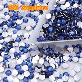 SS6   Sapphire Color 10000pcs/pack Flatback Acrylic Rhinestones Nail Art Rhinestones Free Shipping ss6 light rose color 10000pcs pack flatback acrylic rhinestones nail art rhinestones free shipping
