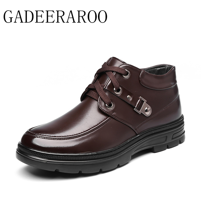 ФОТО 2016 Brand GADEERAROO Men Winter Casual Shoes Lace-up Snow Casual Men Shoes Antiskid Size 38~45 Warm Plus Size #718-1