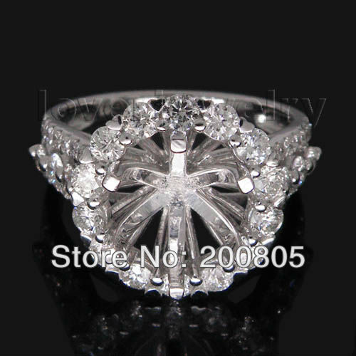 FASHION Jewelry Round 8.5mm With Brilliant DIAMOND Semi Mount Engagement Rings In Solid 18Kt White Gold vintage oval 7x9mm solid 18kt white gold diamond semi mount pendant wholesale fine jewelry for girl wp025