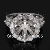 FASHION Jewelry Round 8.5mm With Brilliant DIAMOND Semi Mount Engagement Rings In Solid 18Kt White Gold