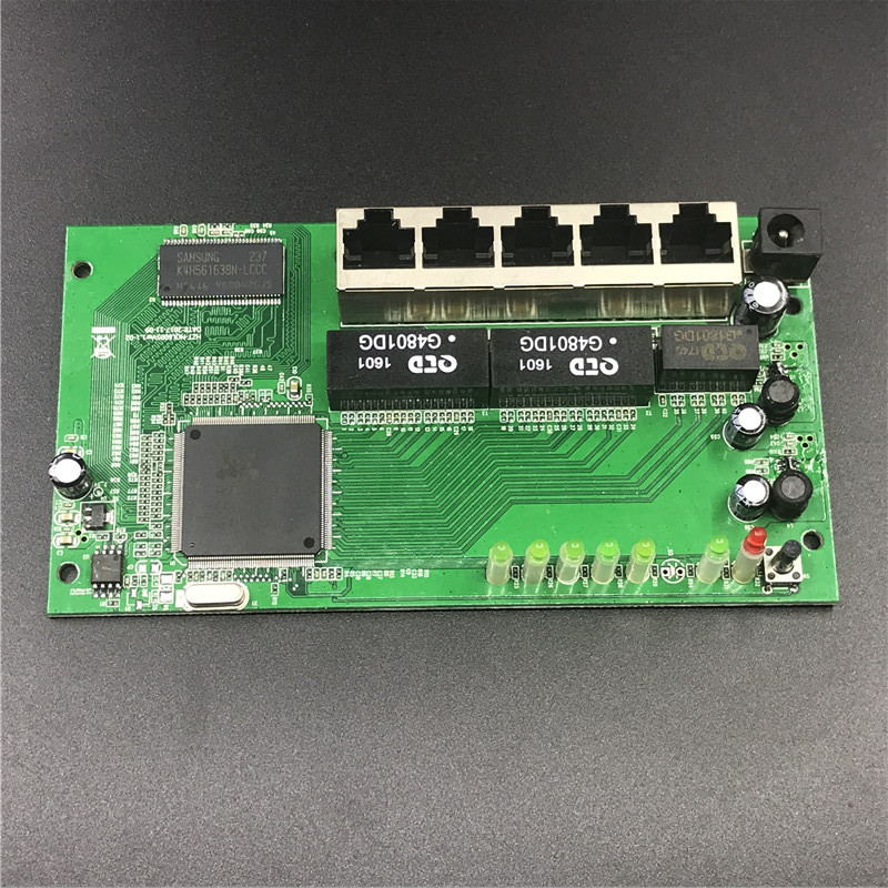 5 Port Gigabit Router Module 10/100/1000M Distribution Box 5-port Mini Router Modules OEM Wired Router Module PCBA With RJ45