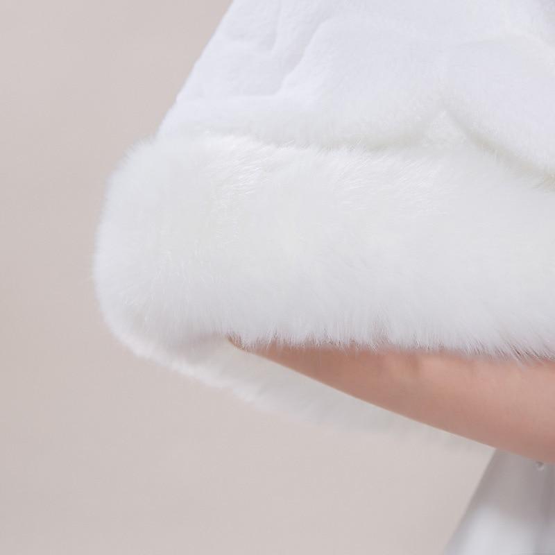 Image 5 - Winter Wedding Shawl For Bride White Fax Fur Wedding Wrap  Cape With Crystals Bridal Jackets Wedding CoatsWedding Jackets / Wrap   -