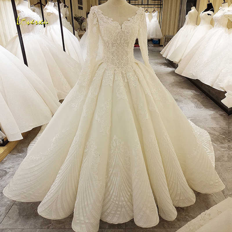 Loverxu Vestido De Noiva Long Sleeve Lace Wedding Dresses 2019 Sexy Backless Scoop Neck Appliques Beaded A Line Bride Gowns