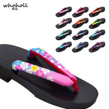 WHOHOLL Original Geta Women Kimono Slippers Japanese Wooden Clogs Flip-flops Flat Platform Cosplay Costumes Lolita