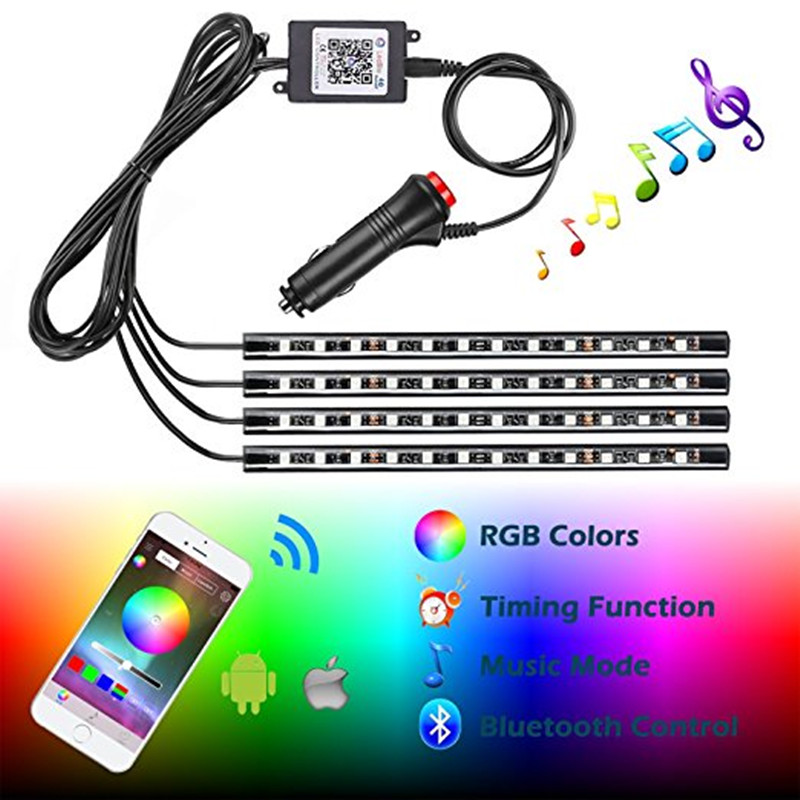 New Car RGB LED Neon Interior Light Lamp Strip Decorative Atmosphere Lights Wireless Phone APP Control For Android IOS 12v