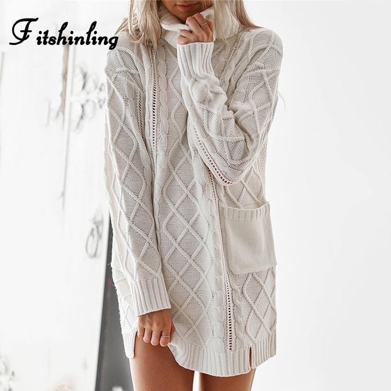 Fitshinling Pockets Twist Sweater Dress Female Pullover Knitwear Winter Clothing 2018 Fashion Slim White Long Women Sweaters New