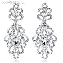 Роскошные серьги люстры серебряного цвета с кристаллами Стразы