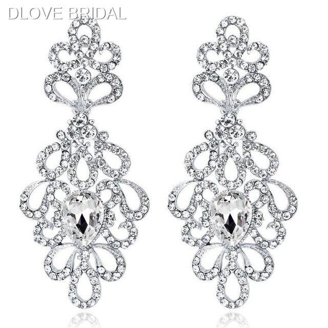 Luxury Chandelier Earrings Silver Color Crystal Rhinestone Floral Earrings Bridal Wedding Jewelry Accessory