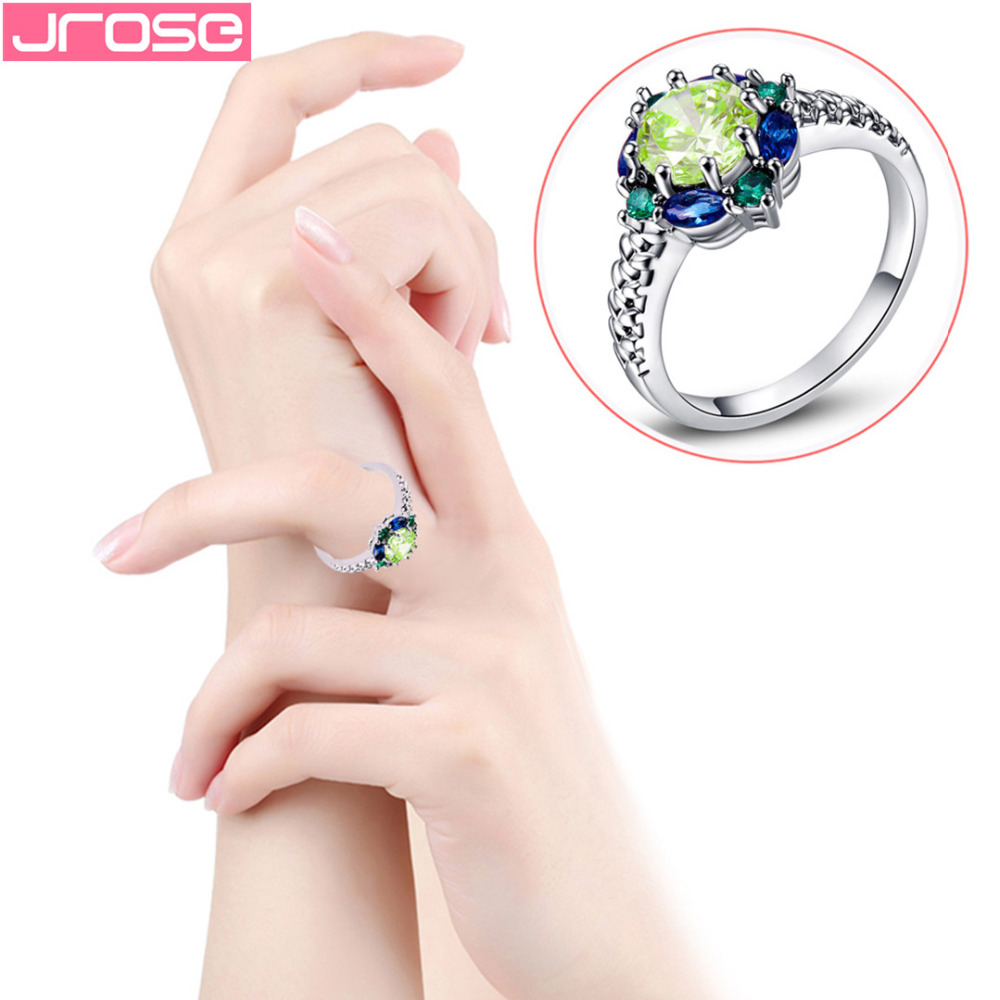 JROSE Venta al por mayor Hot Engagement Round Cut Blue & Green CZ - Bisutería - foto 3