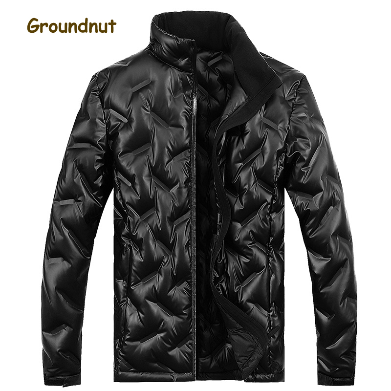 Groundnut Brand Pleated Fashion Winter Duck Down Jackets Men Stand Collar Long Sleeve Solid Color Down Coats Outerwear Plus Size