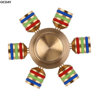 OCDAY Luminous Attractive Gyro Hand Spinner Brass Hexagon Finger Fidget Steel Material For Autism Kid Adults