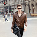 Large Size Men Brand Leather Jacket Suede Hooded Autumn Coat Outwear Fashion Waterproof Windbreak Good Quality 5X Black Coffee