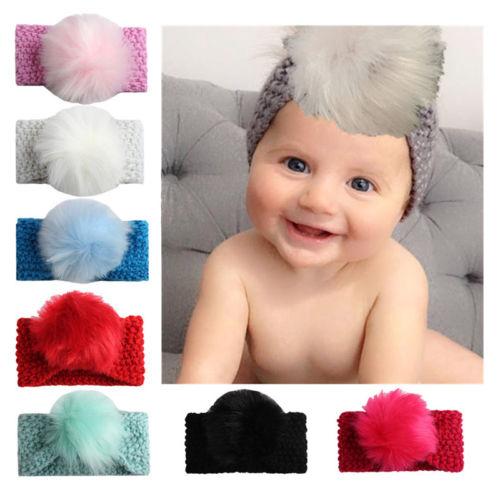 Cute Kids Baby Girl Toddler Headband Pompom Hair Band Headwear Accessories