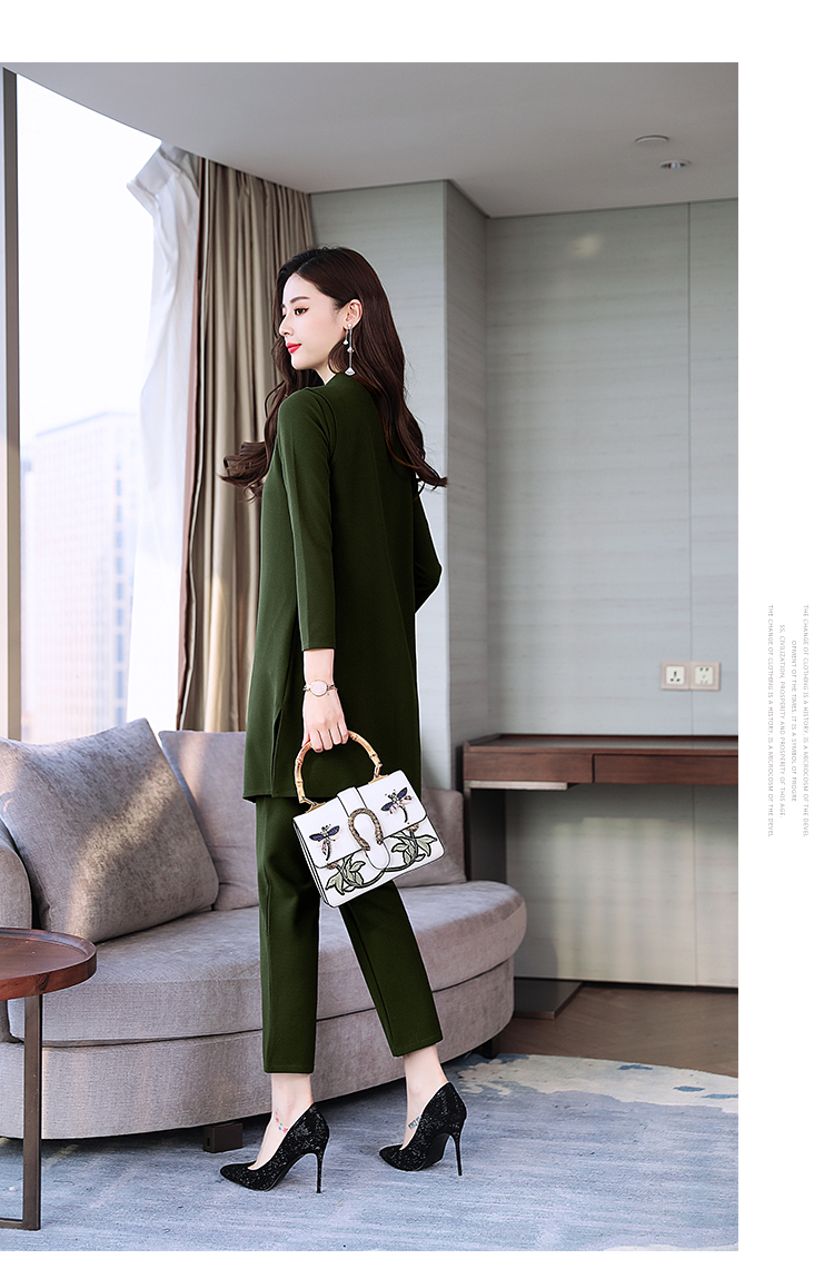 Spring Autumn 3 Piece Set Women Long Coat T-shirt And Pants Sets Casual Elegant Three Piece Sets Suits Women's Costumes 58