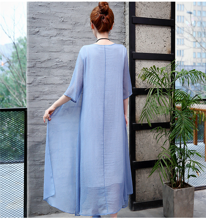 2019 New Cotton Linen Casual 2 Pieces Women Dresses Slim Sleeveless Dress And Cardigan Summer Embroidery Chinese Style Dress 15