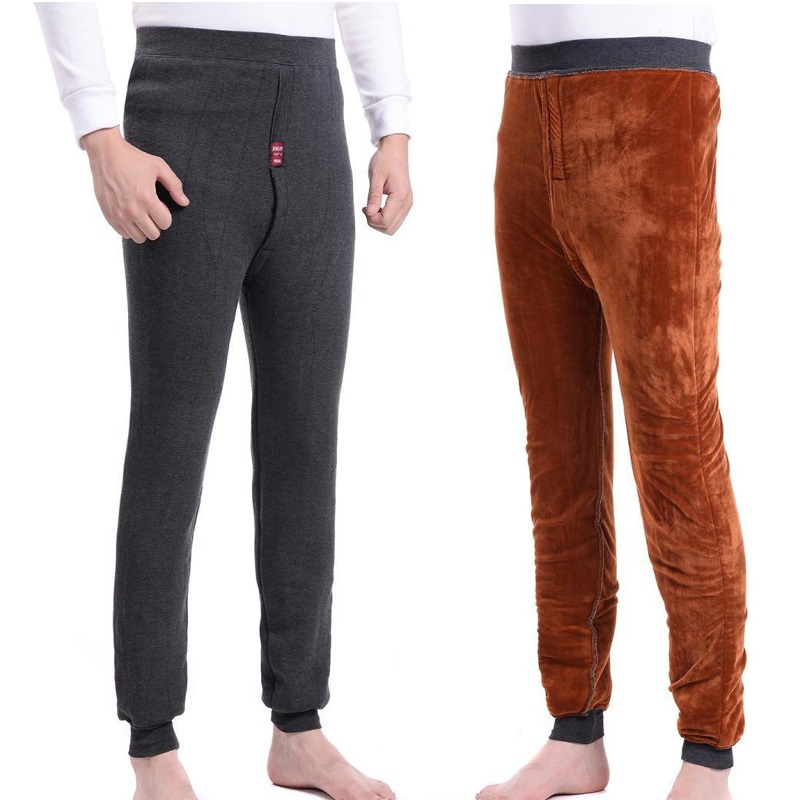 2018 New Men Thermal Underwear Pants Very Thick Fleece Leggings Wear In Very Cold Days Winter Trousers More Than 520g