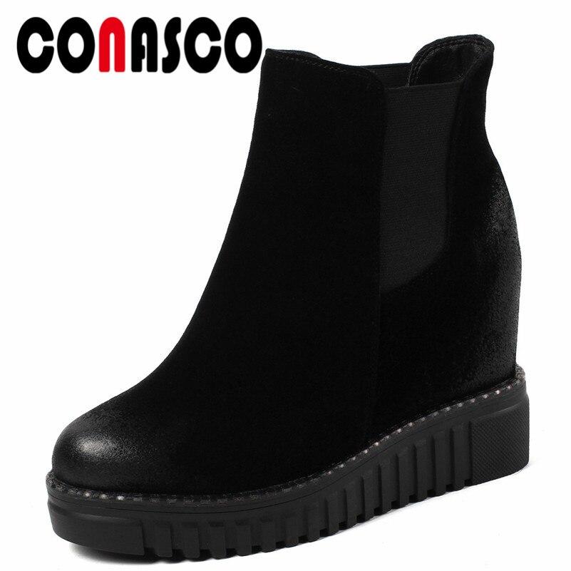 ed95b44c0764 Mode Plates Noir Bottes Compensées Chaussures Marque Conasco Martin formes  Base Femme Courtes Bottines Femmes Talons Style Rome De 1 Vache Suède 7pdpwq