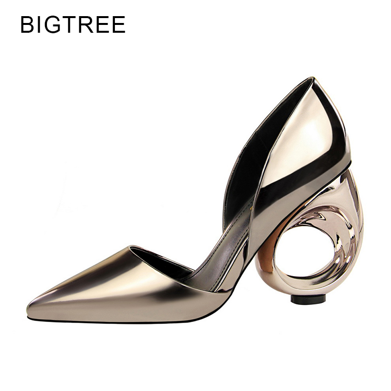 Bigtree Patent Leather High Heel Shoes Woman Pointed Toe Party Woman Pumps Fretwork Heels Shoes Zapatos Mujer Tacon Black Gold choudory high heels woman pumps spring autumn flower decoration woman shoes attractive flock pointed toe party zapatos mujer