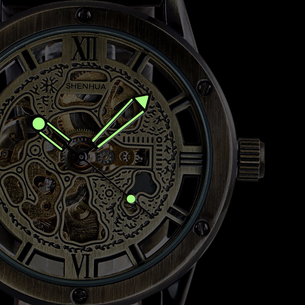 Vintage Bronze Men's Skeleton Watches Clock Male Leather Strap Antique Steampunk Casual Automatic Skeleton Mechanical Wristwatch vintage bronze men wristwatch skeleton clock male leather strap antique steampunk casual automatic skeleton mechanical watches