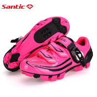 Santic Winter MTB Cycling Shoes Pink zapatillas Shoes Bicycle Cleated Mountain Road Racing Women Cycling Shoes S12015