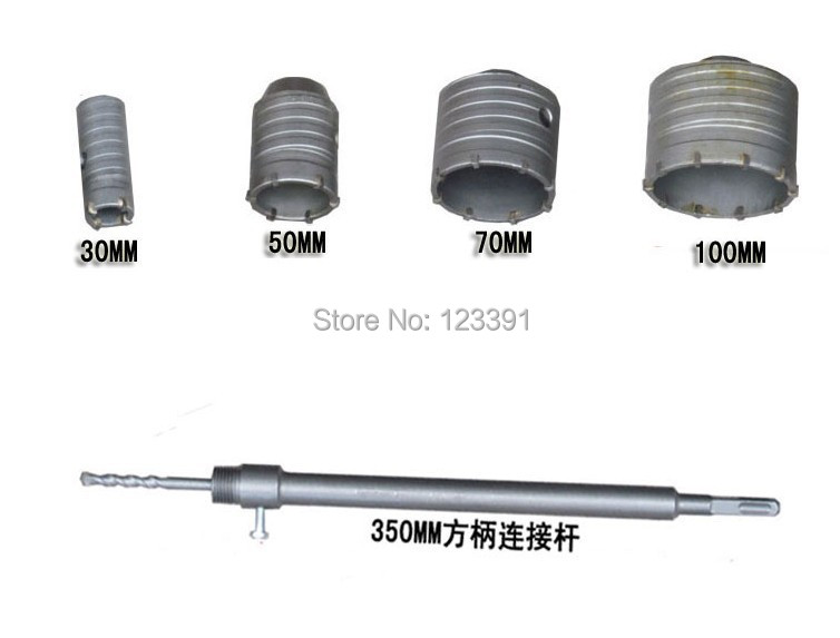 New offer 6PC/set TCT electric Hammer wall hole saw 30/50/70/100mm with 1pc square four hollow extension rod 1pc central drill air condition water pipe contrete 50mm wall hole saw drill bit 200mm square rod