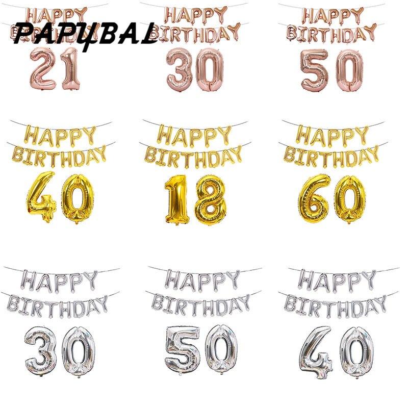 1 Набор 16-дюймовый шар с надписью Happy Birthday 18 21 30 40 50 60 украшения для дня рождения для взрослых розовый Золотой воздушный шар из фольги для вече...