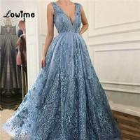 Blue V Neck Evening Dresses Formal Gown For Middle East Women Dubai Arabic Robe De Soiree Long Party Gown Vestidos 2018 New