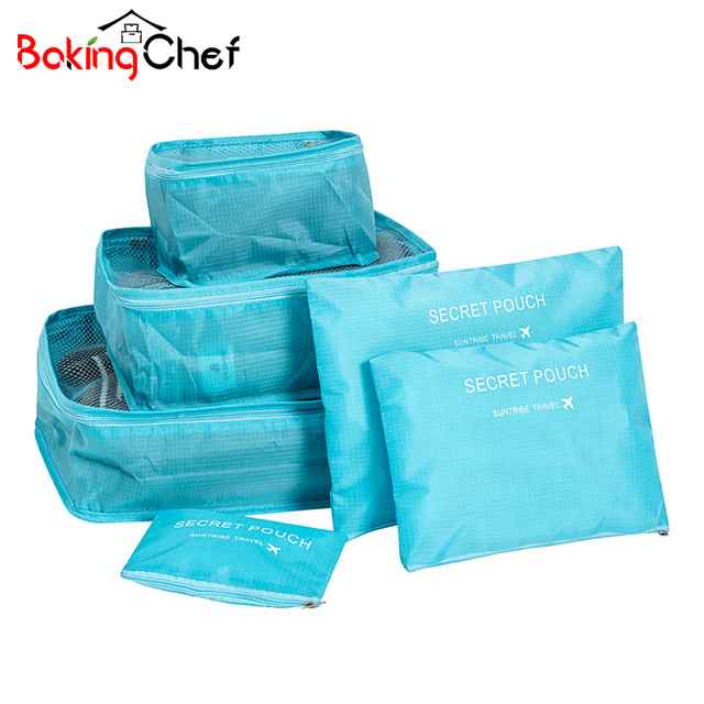 BAKINGCHEF Set of 6 Travel bags Women's men's storage Panty Bra Underwear organizer Clothing Cosmetic bag Overnight Accessories