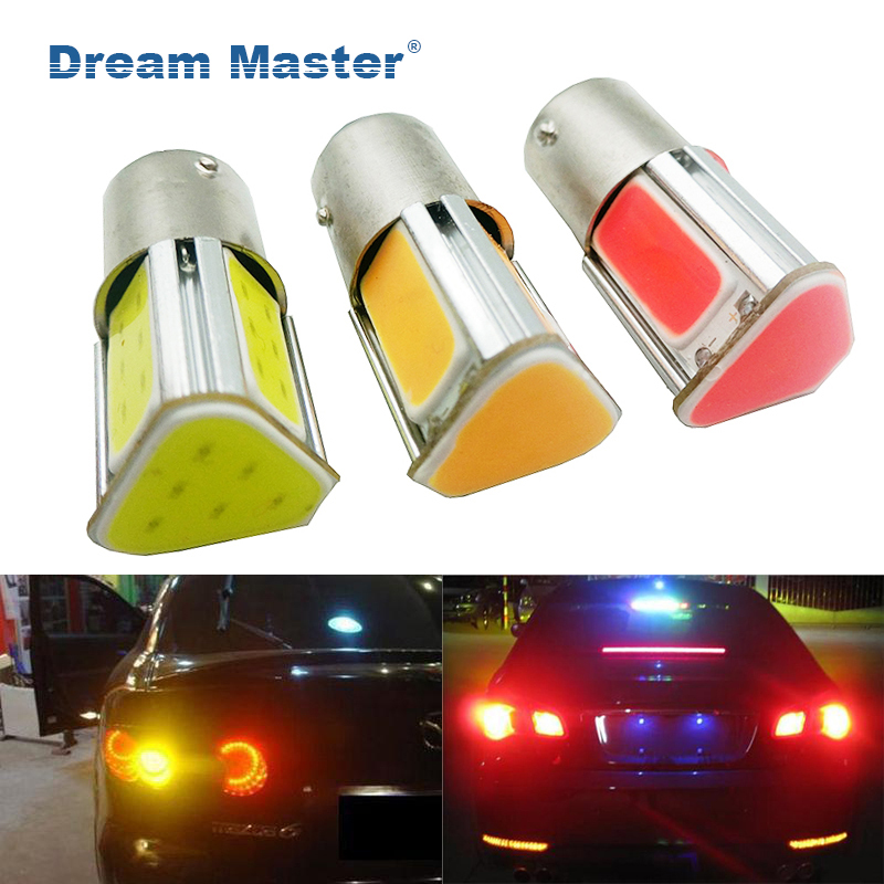 1PCS Super bright Auto P21W COB 1156 BA15S 4 COB LED Car R5W S25 Car Brake Bulbs Lights Reverse Daytime Lamps Red Yellow White auto car styling 4x cob p21w led 12smd 1156 ba15s truck strobe led fog lights hid error free car side wedge car styling jul 19
