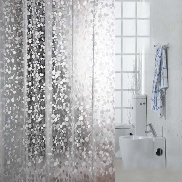Kingart PVC Transparent Shower Curtain Home Bathroom Solid Color Curtain  Hotel Hook Or Double Pleated Waterproof