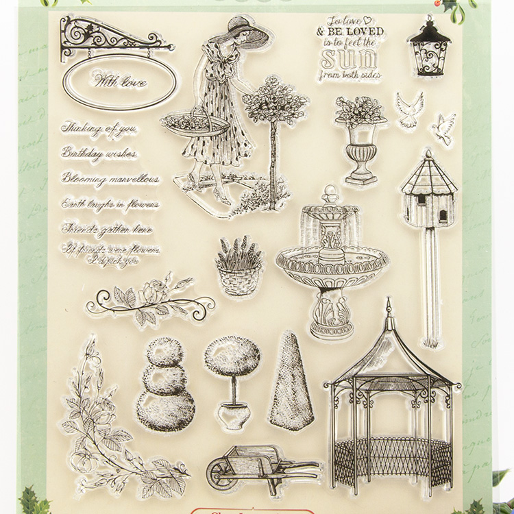 Patio Transparent Clear Silicone Stamp/Seal for DIY scrapbooking/photo album Decorative clear stamp sheets A273 lovely animals and ballon design transparent clear silicone stamp for diy scrapbooking photo album clear stamp cl 278