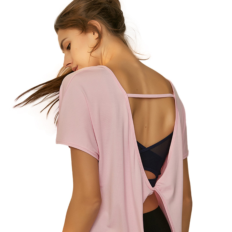 Modal Athletic Short Sleeve T shirt Women 39 s Summer Fitness Yoga Shirt Vest Drying Quickly Womens Workout Tops in Yoga Shirts from Sports amp Entertainment