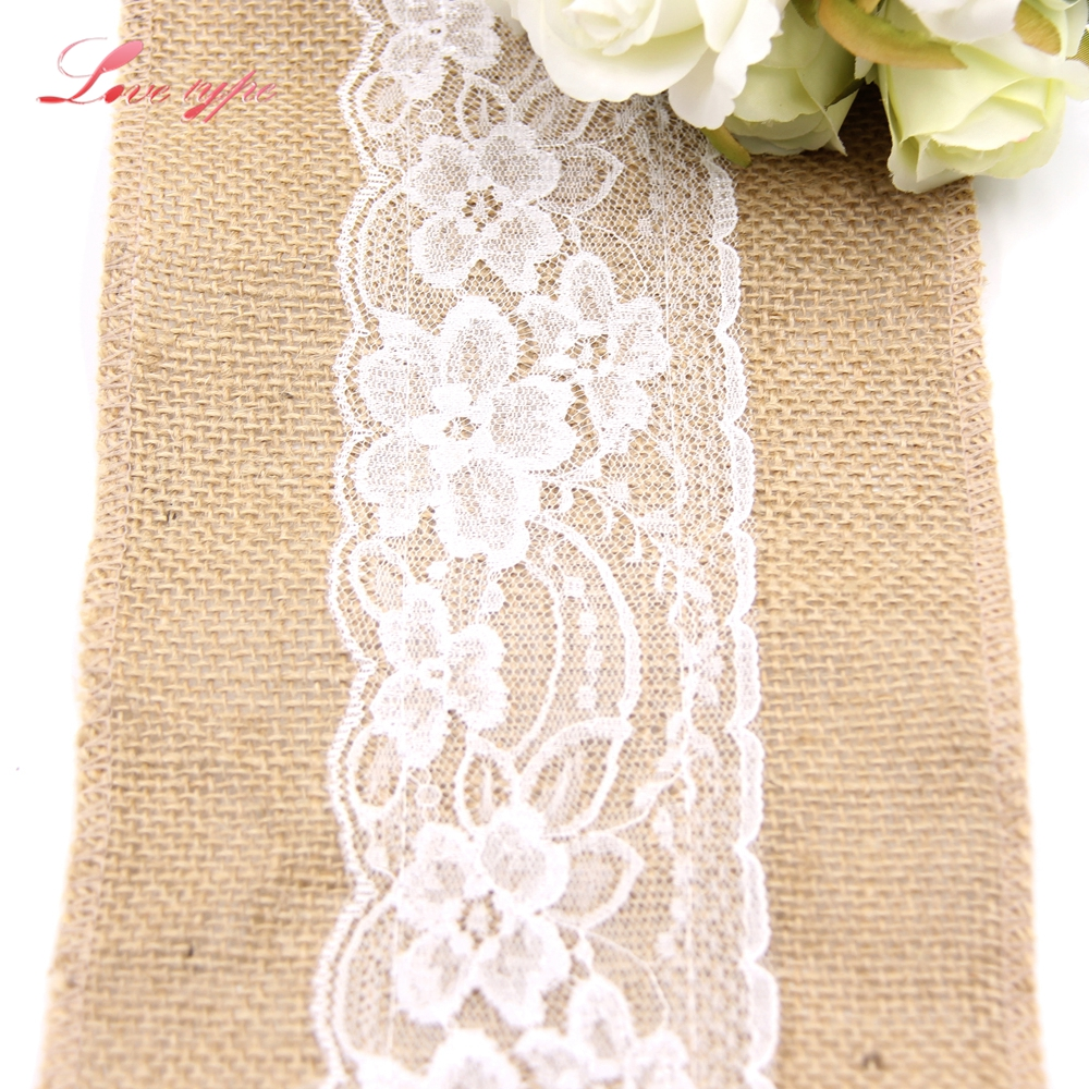240CM*15CM DIY Ornaments Jute Burlap Rolls Hessian Ribbon Lace Vintage Burlap Home Garden Table Decor Wedding Party Decoration