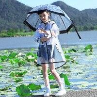 EVA transparent umbrella and raincoat for children,Rain coat Rain Poncho child kids capa de chuva waterproof travel trench