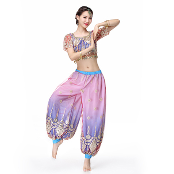Halloween Women Belly Dance Wear Indian Dance Outfits Embroidered Bollywood Costume Set Top and Pantalettes