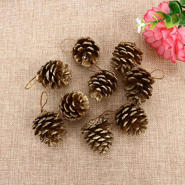 9 Pcs 4 Cm Christmas Gold Pine Cones Baubles Xmas Tree Decoration Ornaments  Gift Gold Silver